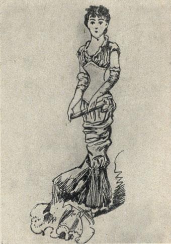 'Перед свадьбой'. Рисунок Н. П. Чехова. 1883