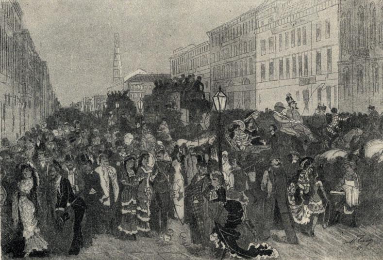 На Невском от трех до пяти. Рисунок Н. П. Чехова в журнале 'Зритель'. 1881