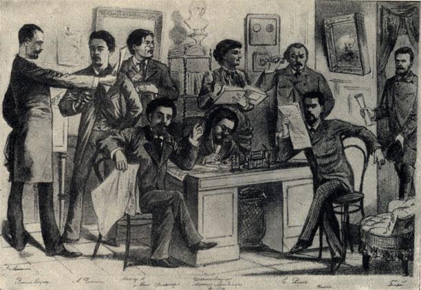 Редакционный день 'Будильника'. Рисунок сотрудника журнала художника М. М. Чемоданова. 1885. Слева второй стоит А. П. Чехов