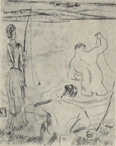 'Смерть чиновника'. Рисунок А. Базилсвича. 1955