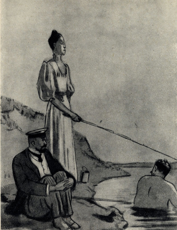 'Толстый и тонкий'. Рисунок Б. Калаушина. 1954