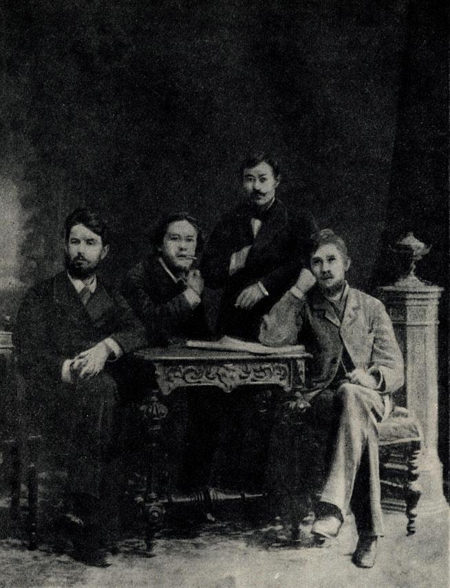 А. П. Чехов и его товарищи по университету Д. Т. Савельев, В. И. Зембулатов, Н. И. Коробов. Фотография. 1884